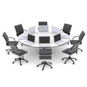Laptops on the office round table and chairs — Stock Photo
