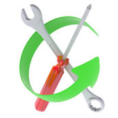 Green Arrow and tools — Stock Photo