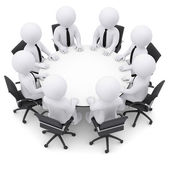 Businessman sitting at the round table — Stock Photo
