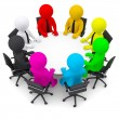 Multicolored people sitting at a round table — Stock Photo