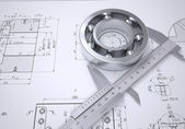 Caliper and bearing in the drawing — Stock Photo
