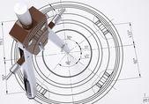 Kompas op de tekening — Stockfoto