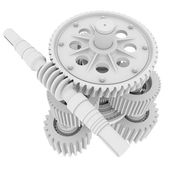 White shafts, gears and bearings — Stock Photo
