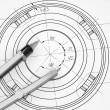 Compass lie on the drawing — Stock Photo