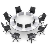 Laptops on the office round table and chairs — Foto Stock