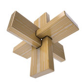 Wooden abstract 3D shape — 图库照片