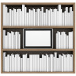 Bookshelf and tablet PC — Stock Photo