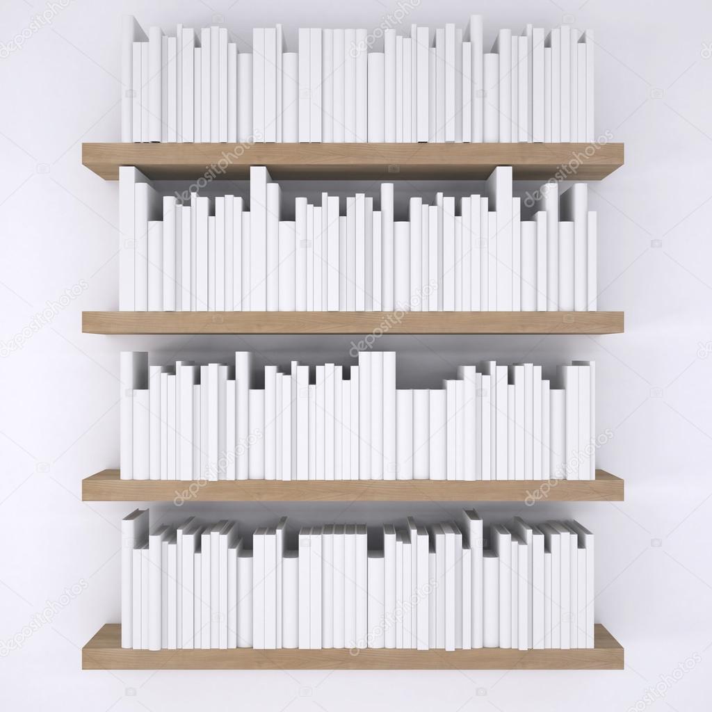 Étagères en bois avec des livres sur fond de mur blanc ...