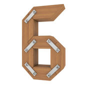 Wooden number six — Foto Stock