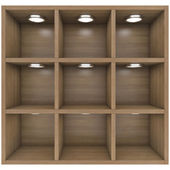 Wooden shelves with built-in lights — Stockfoto