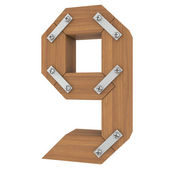 Wooden number nine — Foto Stock