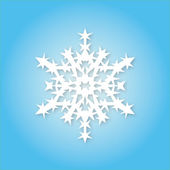White snowflake on blue background — Stock Vector