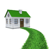The path of grass leading to a small house — Stock Photo