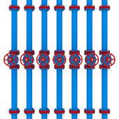 Blue pipes and valves — Foto de Stock