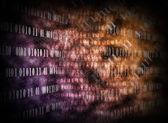 Glowing digital code on a dark background — Stock Photo
