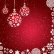 Christmas balls of snowflakes on a red background — Stock Photo
