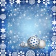 Christmas balls on blue background — Stock Photo