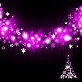 Christmas tree from magenta snowflakes — Stock Photo