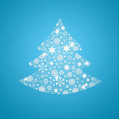 Silhouette of tree filled with snowflakes — Stock Photo