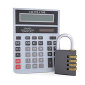 Combination lock and calculator — Stock Photo