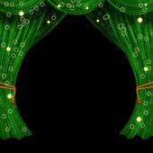 Christmas open curtain — Stock Photo