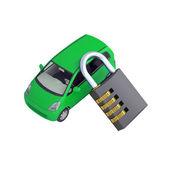Groene kleine auto en combinatieslot — Stockfoto