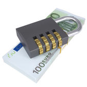 Combination lock on a pack of lies euros — Stock Photo