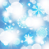 Snowflakes on abstract blue background — Foto de Stock