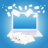 Many envelopes and laptop — Stock Photo