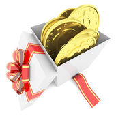 Gold coins in a gift box — Foto Stock