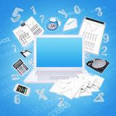 Itens de laptop e escritório — Fotografia Stock