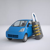 Blue small car and combination lock — 图库照片