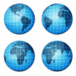 Globe. Dark blue continents and blue ocean — Stock Photo