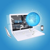 Laptop and office items — Stockfoto