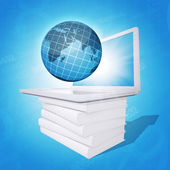 Laptop and globe on white stack of books — Stock Photo