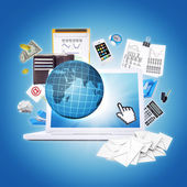 Laptop and office items — Foto de Stock