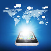 Smartphone and world map with contacts — Foto de Stock