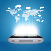 Smartphone and world map with contacts — Stock Photo