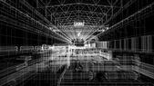 Gantry crane in a factory environment. Wire-frame — Foto de Stock