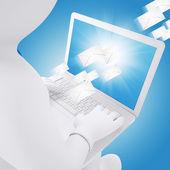 3d beyaz adam ile bir dizüstü bilgisayar — Stok fotoğraf