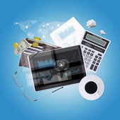Tablet PC and office items — Stok fotoğraf