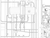 Industrial equipment. Wire-frame render — Vector de stock