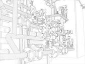 Endüstri/sanayii donatımı. tel çerçeve oluşturma — Stok Vektör