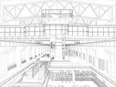 Gantry crane in a factory environment. Wire-frame — Vector de stock