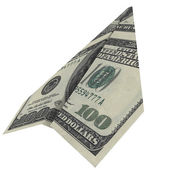 Paper airplane from the dollars — Stock Photo