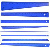 Blå plast linjal — Stockfoto