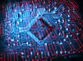 Futuristic integrated circuit — Stock Photo