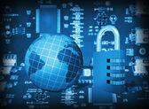 Futuristic integrated circuit, code lock and globe — Stock Photo