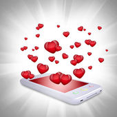 Red hearts fly out of the smartphone — Stock Photo