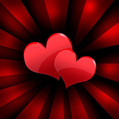 Two red hearts. Abstract background — Stock Photo